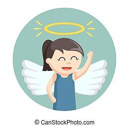 少し天使, 翼, 背景, 女の子, 円, ハロー