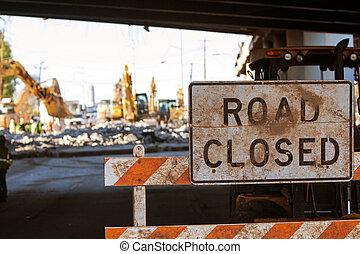 少佐, ブロック, サイト, アクセス, 建設, バリケード, 閉じられた, 道, 州連帯