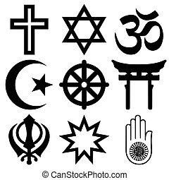 少佐, 組織化された, 上, religions., すべて, 一致, シンボル, ベクトル, faiths, サイン, 世界, 宗教, format., 重要