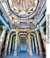 少佐, 観光客, -, 公園, champaner-pavagadh, jami, 魅力, 考古学的, 内部, gujarat, インド, masjid