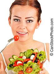 少女, 吃, 蔬菜, 色拉