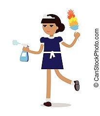 少女, 妇女, 打扫, 制服