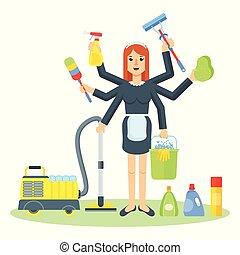 少女, 妇女, 打扫, 服务