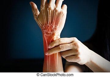 尖銳, 痛苦, 在, a, 婦女, 腕, 上色, 在, 紅色, 上, 深藍, 背景。, 健康問題, 問題