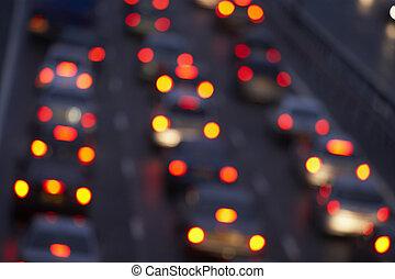 尾は つく, 照ること, 明るく, 中に, a, 交通渋滞, 上に, 高速道路