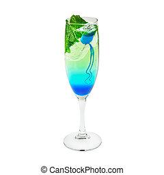 层, 鸡尾酒, 蓝色和绿色