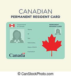 居民, 永久, 卡片, canadian