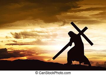 届きなさい, 彼の, シルエット, 交差点, イエス・キリスト