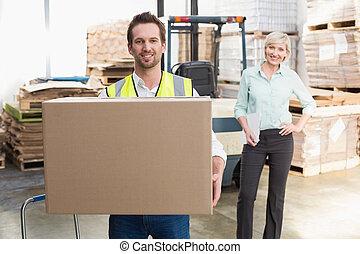届く, 微笑, 倉庫, 箱, 労働者