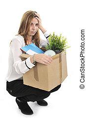 届く, 悲しい, 仕事, ボール紙, 女, 箱, 発射される, ビジネス
