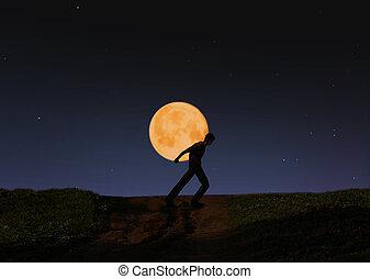 届く, 月