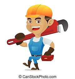 届く, 調節可能, handyman, レンチ, 道具箱
