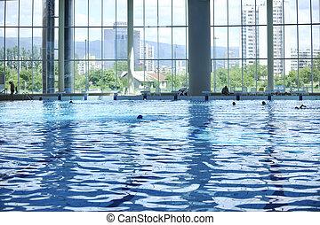 屋内, プール, 水泳