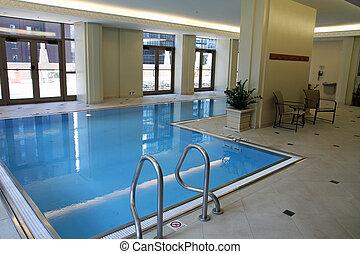 屋内, 上流である, プール, 水泳