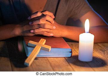 屋内, 宗教, 祈ること, 子供, 上に, 聖書, キリスト教徒, 概念
