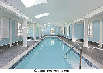 屋内, 長い間, プール, 水泳