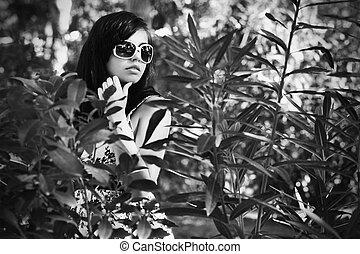 屋外で, 女, portrait., ファッション, 若い