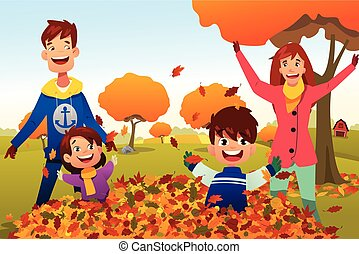 屋外で, 家族, 祝う, 季節, 秋
