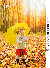 屋外で, 遊び, 公園, 幸せ, 秋, 子供