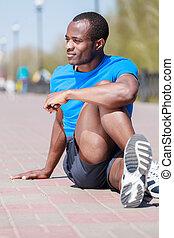 屋外で, exercising., 若い, アフリカの家系, 男性, すること, 彼の, 屋外で, 練習