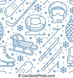 屋外の活量, 雪, tubing., 寒い, 青, 冬, アイコン, -, seamless, パターン, スポーツ装置...