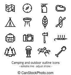 屋外, アウトライン, キャンプ, アイコン, editable, -, ストローク, 調節しなさい, 線
