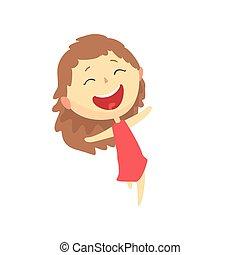 屋外, カラフルである, 子供, 特徴, イラスト, ベクトル, 活動, 微笑の女の子, 漫画, 幸せ