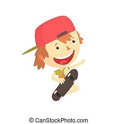 屋外, カラフルである, 子供, 特徴, 男の子, ベクトル, イラスト, 活動, 微笑, skateboarder, 漫画, 涼しい