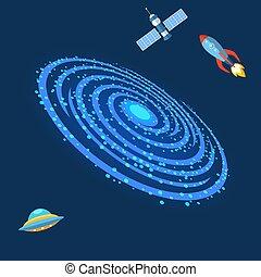 屋外, スペース, 宇宙, milkyway, 空, らせん状に動きなさい, イラスト, ベクトル, 方法, 乳白色, ...