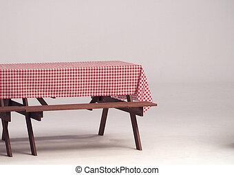屋外, ナプキン, 木, テーブル, パーティー。, 赤