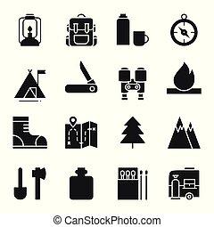 屋外, ハイキング, キャンプ, アイコン, set., キャンプ, シンボル。, 印, adventure., backpacking
