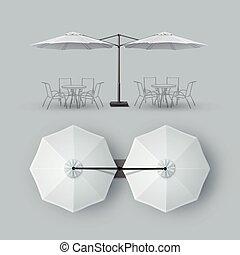 屋外, バー, レストラン, ダブル, パラソル, カフェ, 中庭