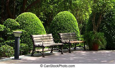 屋外, ベンチ, 庭, 形式的