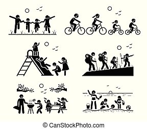 屋外, レクリエーションである, activities., 家族