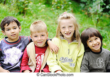 屋外, 一緒に, なしで, 不注意, 限界, 微笑の表面, 子供, 幸福, 幸せ