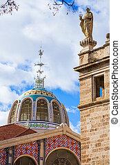 屋外, 中央である, ドーム, 市場, mercado, バレンシア, スペイン