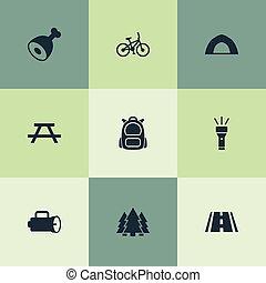 屋外, 他, ベクトル, icons., 懐中電燈, synonyms, 要素, セット, 手, 家具, tent;, pine., 単純である, イラスト, 足