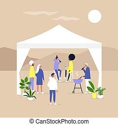 屋外 党, tent., ミレニアムである, 収集, 多民族, 一緒に, marquee, 友人, ライフスタイル, ...