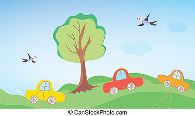 屋外, 子供, 漫画, 面白い, 自動車