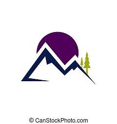 屋外, 山の景色, イラスト, ベクトル, ロゴ
