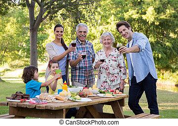 屋外, 昼食, 持つこと, 家族