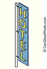 屋外, 概説された, signboard., ネオン, ホテル, 広告, ファサド, モーテル