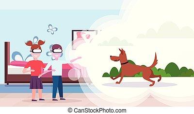 屋外, 現代, 兄弟, vr, 概念, 寝室, ヘッドホン, 2, バーチャルリアリティ, デジタル, 内部, 身に着けていること, 平ら, 動くこと, 横, 姉妹, 子供, 犬, 遊び, ビジョン, ガラス