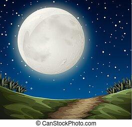 屋外, 現場, 満月