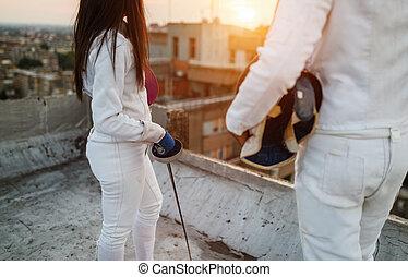屋外, 練習する, 人々, フェンシング, 屋根, 運動選手