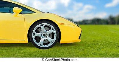屋外, 自動車, 黄色, スポーツ, 緑, 贅沢, 草