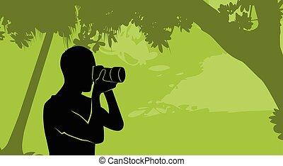 屋外, 自然, シルエット, カメラマン, カメラ, 把握