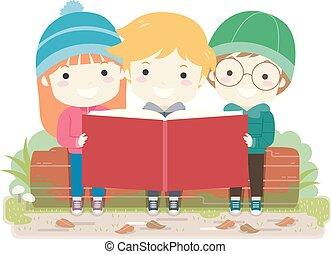 屋外, 自然, 勉強しなさい, イラスト, 子供, 本