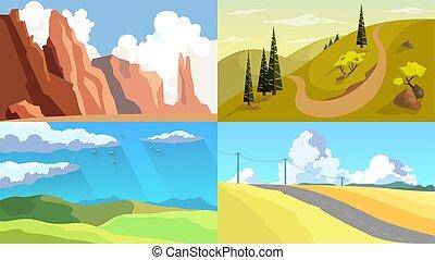 屋外, 自然, set., 様々, 風景, 光景