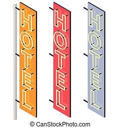 屋外, 色, モーテル, ホテル, ネオン, 3, variants., signboard., 広告, ファサド